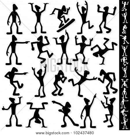 Funny Cartoon Guy Silhouette. Vector Set