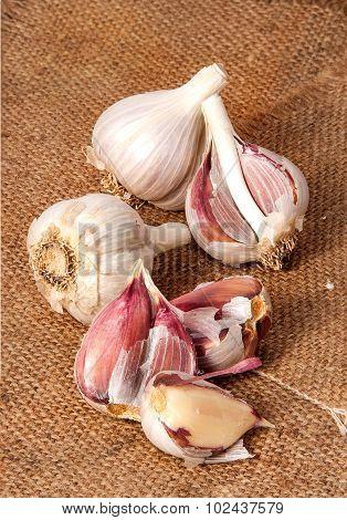 Garlic Scattered On Sackcloth