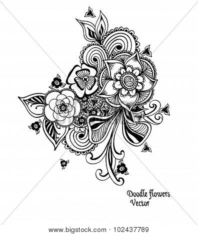 Bouquet doodle flowers floral elements black white
