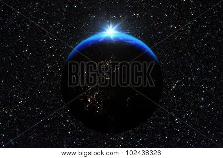 Blue Sunrise, View Of Earth From Space.