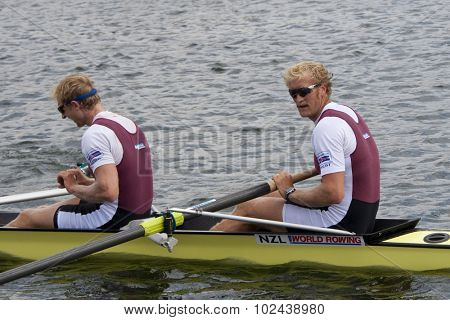 HENLEY, ENGLAND. 04-07-2010.   E. Murray & H. Bond, NZL winners of the The Silver Goblets and Nickalls Challenge Cup on day 5 of the Henley Royal Regatta 2010 held on the River Thames.