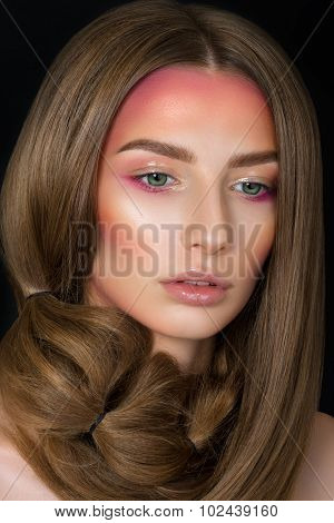 Beauty Portrait Of Young Woman With Fashion Make-up