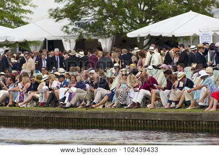 HENLEY, ENGLAND. 03-07-2010. Reggata goers in traditional dress  on day 4 of the Henley Royal Regatta 2010 held on the River Thames.