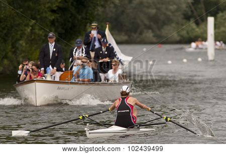 HENLEY, ENGLAND. 01-07-2010.A.E. Freeman (GBR) in action on day 2 of the Henley Royal Regatta 2010 held on the River Thames.  i