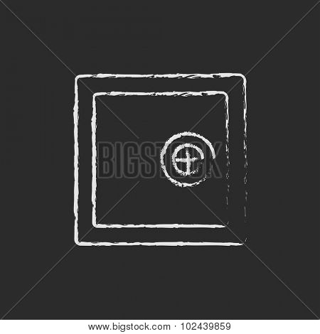 Safe hand drawn in chalk on a blackboard vector white icon isolated on a black background.