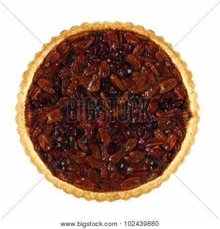 Pecan and cranberry autumn pie isolated on white