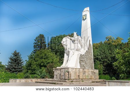 Equestrian Statue Of Bogdan I In Radauti Town, Romania