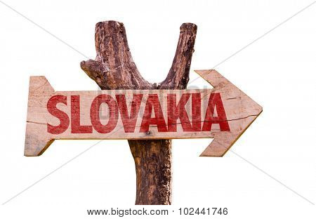 Slovakia wooden sign isolated on white background