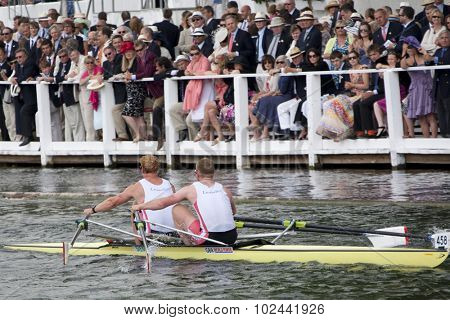 HENLEY, ENGLAND. 04-07-2010.   M.W. Wells & R.M. Batemanrunners up in the The Double Sculls Challenge Cup on day 5 of the Henley Royal Regatta 2010 held on the River Thames.
