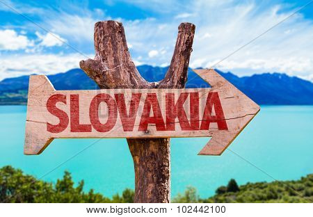 Slovakia wooden sign with lake background