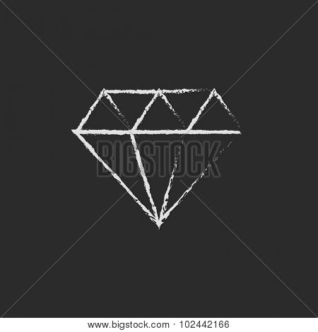 Diamond hand drawn in chalk on a blackboard vector white icon isolated on a black background.