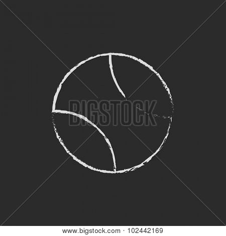 Tennis ball hand drawn in chalk on a blackboard vector white icon isolated on a black background.