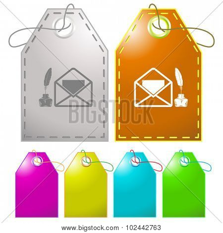 mail with feather and inkstandn . Vector tags.
