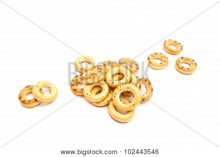 Bunch Of Bagels On White
