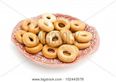 Bagels On A Pink Plate
