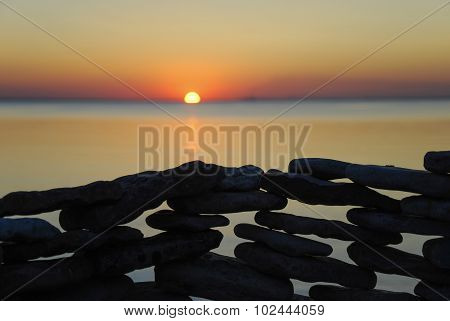 Stone Wall Detail At Sunset