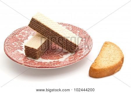 Wafers On A Dish And Cracker