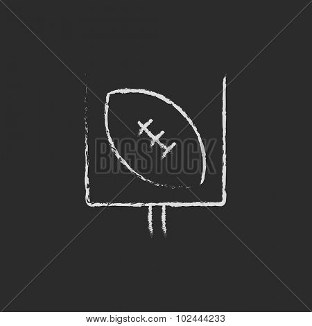 Gate and ball for rugby hand drawn in chalk on a blackboard vector white icon isolated on a black background.