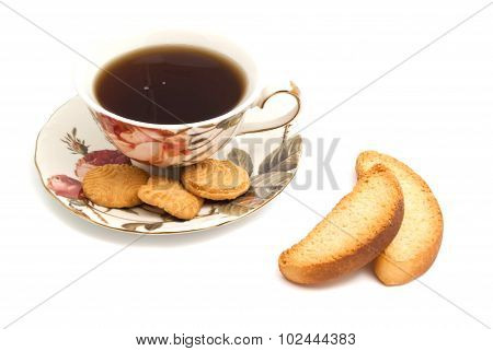 Cup Of Tea, Cookies And Pair Of Crackers