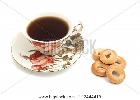Heap Of Bagels And Cup Of Tea