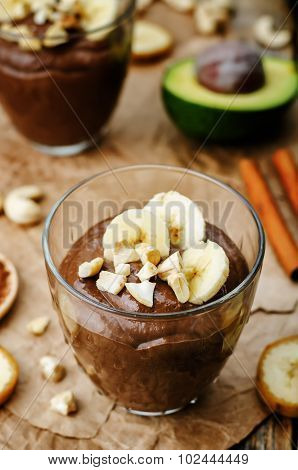 Raw Vegan Avocado Banana Chocolate Pudding