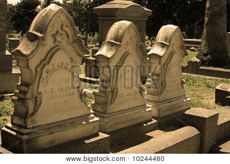 Row of 3 Historic Headstones