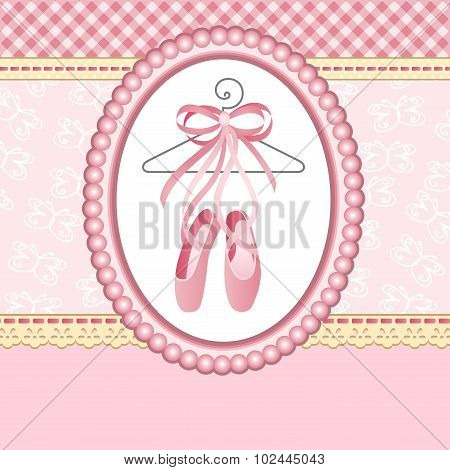 Ballet slippers on background