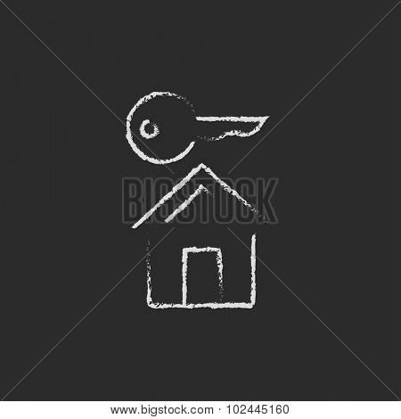 Key for house hand drawn in chalk on a blackboard vector white icon isolated on a black background.