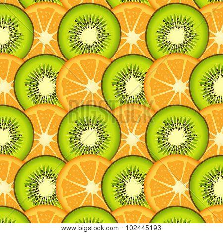 Orange and kiwi slices background