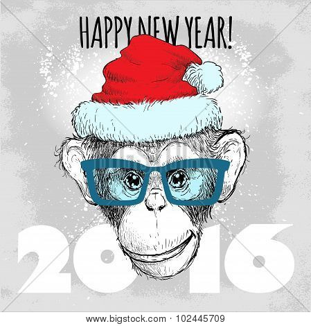 Chimpanzee monkey Hipster with blue glasses and Christmas hat.