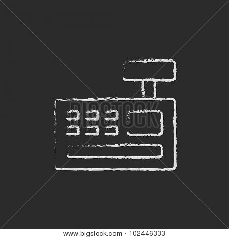 Cash register machine hand drawn in chalk on a blackboard vector white icon isolated on a black background.