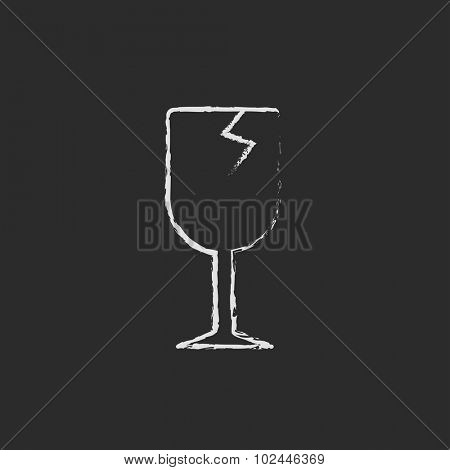Cracked glass sketch icon hand drawn in chalk on a blackboard vector white icon isolated on a black background.