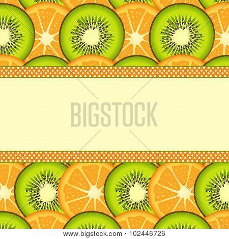 Orange and kiwi slice background with blank banner