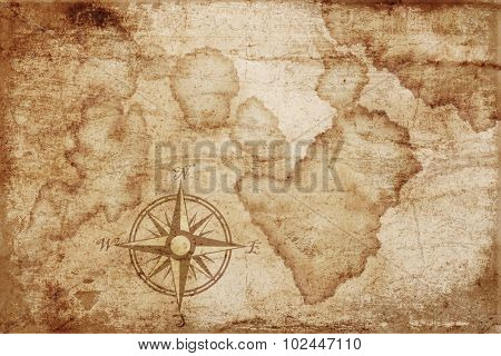 old map with a compass on it