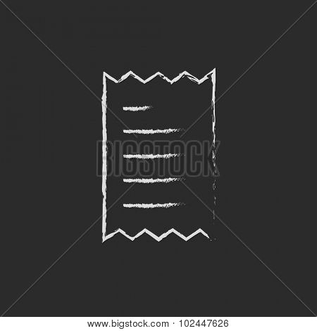 Receipt hand drawn in chalk on a blackboard vector white icon isolated on a black background.