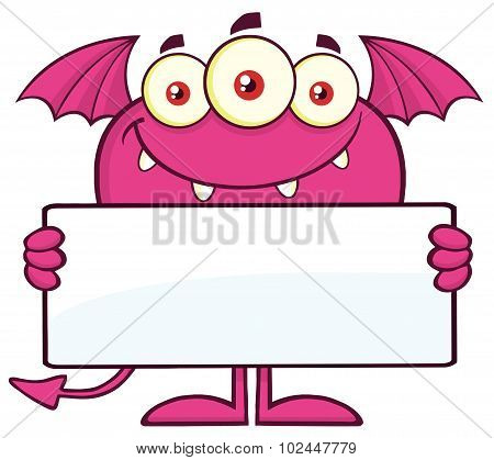 Pink Monster Cartoon Character Holding A Blank Sign