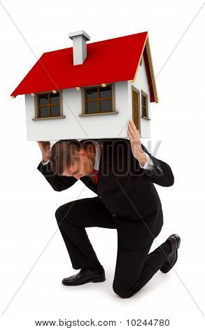 Business Man Holding House On His Back