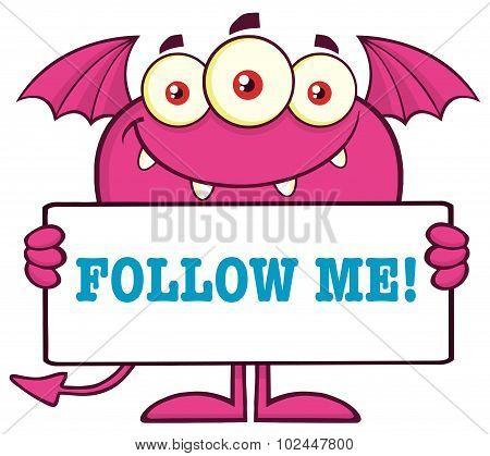 Pink Monster Cartoon Character Holding A Follow Me Sign