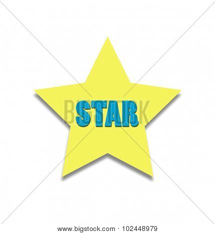 Yellow star with a blue inscription: star