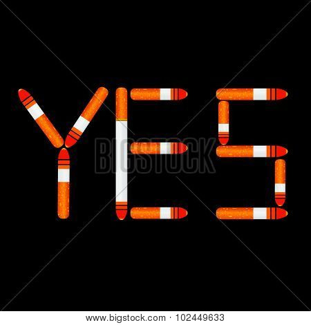 Cigarette Yes Vector On Black