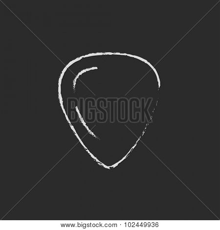 Guitar pick hand drawn in chalk on a blackboard vector white icon isolated on a black background.