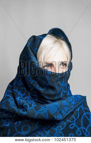 Blonde Girl In A Blue-black Paranzhe