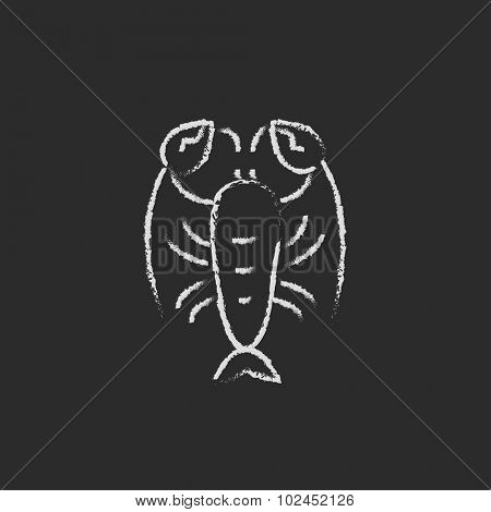 Lobster hand drawn in chalk on a blackboard vector white icon isolated on a black background.