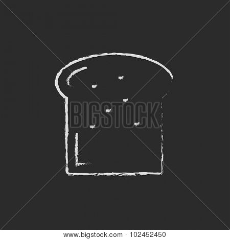 Single slice of bread hand drawn in chalk on a blackboard vector white icon isolated on a black background.
