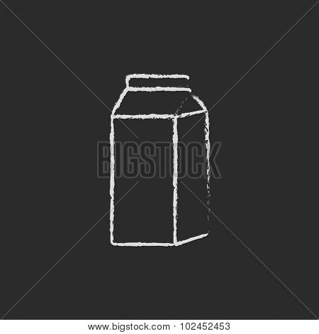 Packaged dairy product hand drawn in chalk on a blackboard vector white icon isolated on a black background. Milk carton.