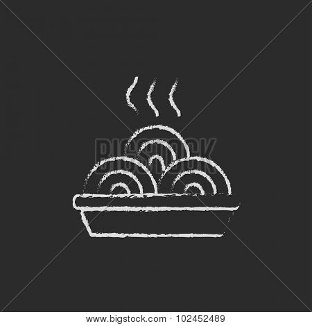 Hot meal in plate hand drawn in chalk on a blackboard vector white icon isolated on a black background.
