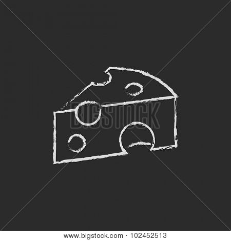 Piece of cheese hand drawn in chalk on a blackboard vector white icon isolated on a black background.
