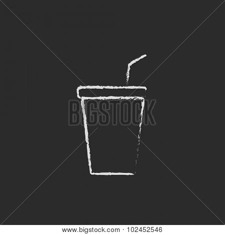 Disposable cup with lid and drinking straw hand drawn in chalk on a blackboard vector white icon isolated on a black background.