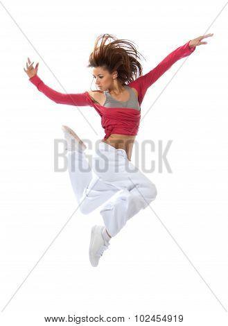 New Pretty Modern Slim Hip-hop Style Teenage Girl Jumping Dancing