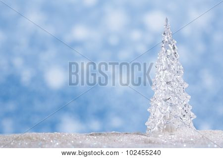 Shinny Glass Christmas Tree, abstract snow blue background